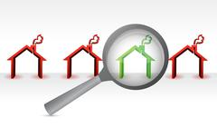 Stock Illustration of search for the perfect home. magnify concept