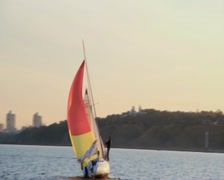 Racing yacht on city river, active rest, extreme sport, vacation Stock Footage