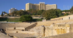 Stock Video Footage of amphitheatre of tarragona hotel view 4k spain