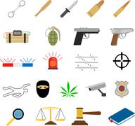Crime icons in flat colors style Stock Illustration