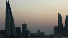 Dusk in Bahrain, World Trade Center in the frame. Stock Footage