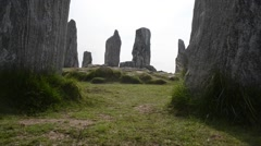 Circle of stones at  Lewis, Outern Ebrides Stock Footage