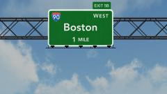 4K Passing Boston Interstate Highway Sign with Matte 1 neutral - stock footage