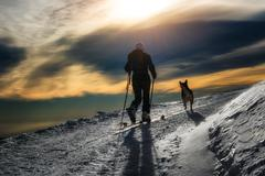 Ski mountaineering silhouette, girl with a dog Stock Photos