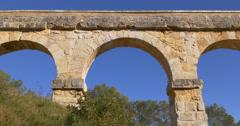 Tarragona puente del diablo bridge top view 4k spain Stock Footage