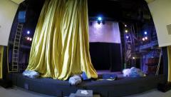 Installing curtain on the stage Stock Footage