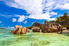 Famous beach Source d'Argent at Seychelles Stock Photos