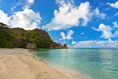 Famous beach Source d'Argent at Seychelles - stock photo