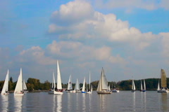 Many sailboats and yachts gathered for regatta, sport, race Stock Footage