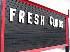 Cheese Curds Marquee Advertising Sign Stock Photos
