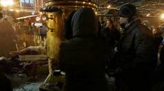 Street cafe with great samovar on New Year's Fair at Red Square in Moscow. - stock footage