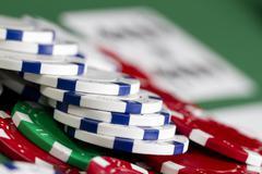 Poker Chips Close Up Stock Photos
