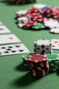 Poker Chips on Green Felt Stock Photos