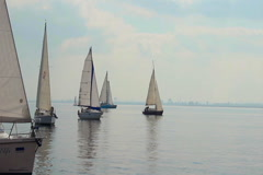 Sailing boats in open sea, race, yachting, sport, traveling Stock Footage