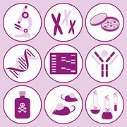 set of violet molecular biology science icons - stock illustration