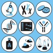 Set of black and blue molecular biology science icons Stock Illustration