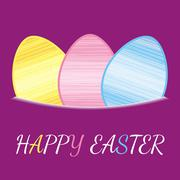 Happy easter with coloured eggs on violet background Stock Illustration
