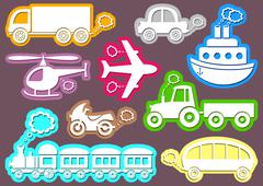 set of coloured transport icons on brown background - stock illustration