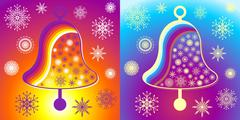 coloured christmas bells on blue and yellow background with snowflakes - stock illustration