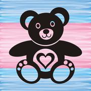 black teddy bear with heart on blue and pink background - stock illustration