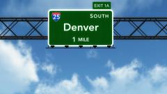 4K Passing Denver Interstate Highway Sign with Matte 2 stylized - stock footage