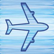 simple airplane symbol on blue sky background - stock illustration