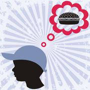 A little boy is dreaming about hamburger Stock Illustration