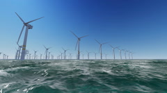 Offshore Wind Farm in the ocean - stock footage