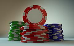 Gambling Chip Stacks - stock photo