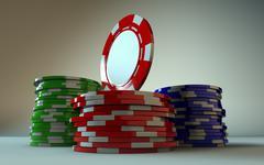 Gambling Chip Stacks Angled - stock photo