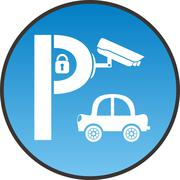 Symbol of guarded parking with car, padlock and security camera - stock illustration