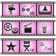 Set of nine movie icons in violet film stripes - stock illustration