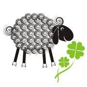 Little cute sheep with black head and wool spirals with quatrefoil Stock Illustration