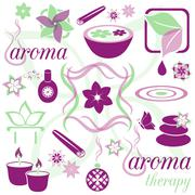 Set of violet and green aromatherapy icons - stock illustration