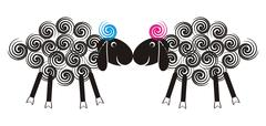 Two cute lambs sniffing each other with black heads and wool spirals Stock Illustration