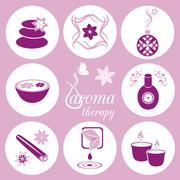 Set of violet aromatherapy icons on light violet background - stock illustration