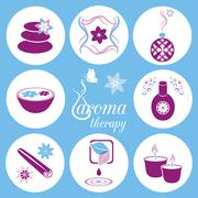 Set of violet and blue aromatherapy icons on light blue background - stock illustration