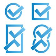 Stock Illustration of Set of four blue tick icons on white background