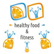 Healthy food and fitness symbols, orange and exercising figure Stock Illustration