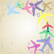 Stock Illustration of Colorful symbols of plane on retro grunge background