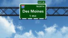 Stock Video Footage of 4K Passing Des Moines Interstate Highway Sign with Matte 2 stylized