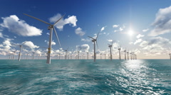 Wind turbines power generator farm in sea. Stock Footage