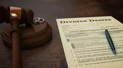 Gavel Divorce Paper Decree Front - stock photo