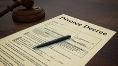Gavel Divorce Paper Decree Right - stock photo
