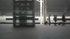 Platform seen from a train window, when departure from a station Stock Footage
