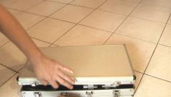 Man opens a box with tools for grilling Stock Footage