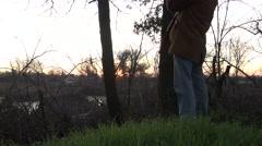 Wildlife marsh ,man searching wildlife habitat Stock Footage