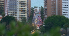 Malaga sunset bay street top view 4k Stock Footage