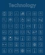 Set of technology simple icons Stock Illustration