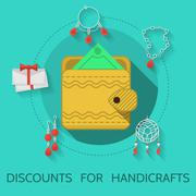 Flat design vector illustration of handicraft - stock illustration